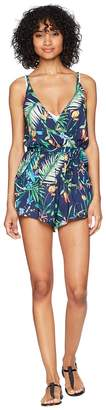 Lucky Brand Lush Leaf Romper with Pockets Cover-Up Women's Jumpsuit & Rompers One Piece