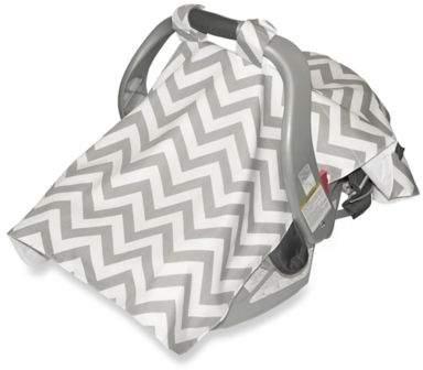 Jolly Jumper Infant Car Seat Veil in Chevron Grey