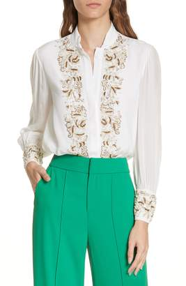Alice + Olivia Beaded Tuxedo Blouse