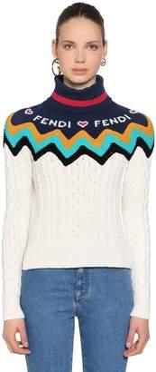 Fendi Logo Wool & Cashmere Cable Knit Sweater