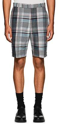 Thom Browne MEN'S PLAID WOOL MADRAS SHORTS - NAVY SIZE 4