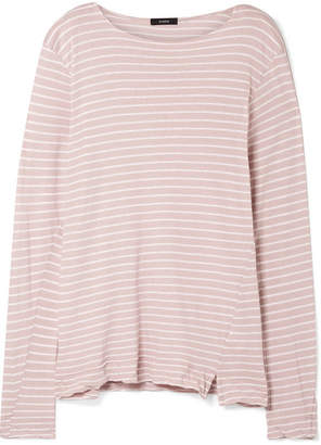 Bassike Striped Organic Cotton-jersey Top - Pastel pink