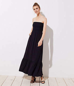 LOFT Smocked Strapless Maxi Dress