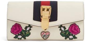 Gucci Sylvie Floral Applique Leather Wallet - Womens - White Multi