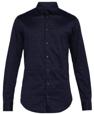 Giorgio Armani Diamond Flocked Cotton Shirt - Mens - Navy