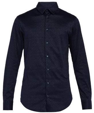 Giorgio Armani Diamond Flocked Cotton Shirt - Mens - Navy