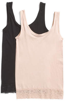 2pk Seamless Camis With Lace Trim