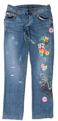 Dolce & Gabbana 2005 Embroidered & Embellished Distressed Jeans