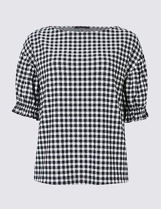 Marks and Spencer Gingham Ruched Sleeve Top