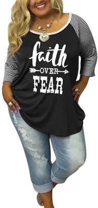 Vin beauty Faith Over Fearetter Printedong Seeve T Shirt Pus Size Tops
