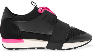 Balenciaga Race Runner Leather, Suede, Mesh And Neoprene Sneakers - Black