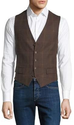 Stefano Ricci Men's Plaid Pattern Waistcoat Button Vest