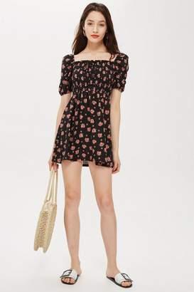 Topshop PETITE Spot Print Shirred Bodycon Dress