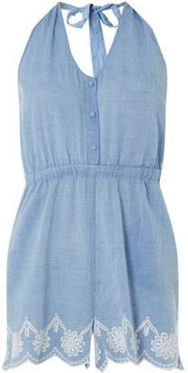 Dorothy Perkins Womens *DP Beach Chambray Broderie Playsuit