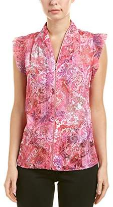 T Tahari Women's Esme Printed Sleeveless Blouse