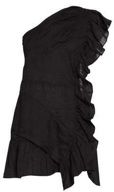 Etoile Isabel Marant Teler One-Shoulder Ruffle A-Line Dress