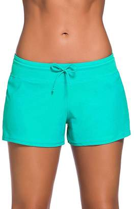 ZDUND Women's Boardshorts Beach Short Swim Brief with Adjustable Ties (, S)