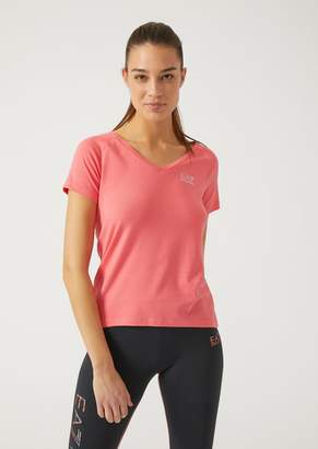 Emporio Armani Ea7 Cotton And Stretch Modal T-Shirt With Rhinestone Detailing