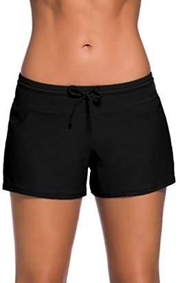 Happy Sailed Women Sports Swim ShortsTankini Bottoms Beach Board Shorts