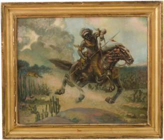 Rejuvenation Large Original Oil Painting Hunter on Horseback