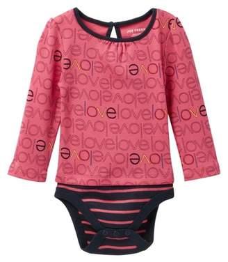 Joe Fresh Long Sleeve Allover Print Bodysuit (Baby Girls)