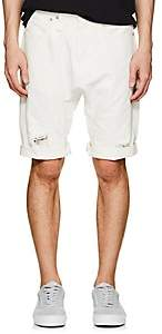 R 13 Men's Ian Distressed Denim Drop-Rise Shorts-White Size 32