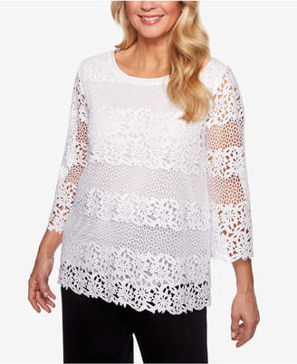 Alfred Dunner Petite Cayman Islands Lace Top