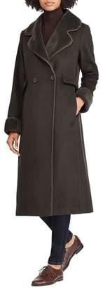Lauren Ralph Lauren Wool Blend Faux Shearling Trim Coat