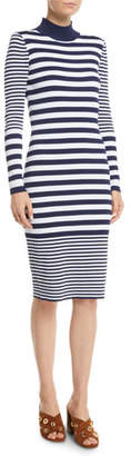 MICHAEL Michael Kors Mock-Neck Striped Bodycon Dress
