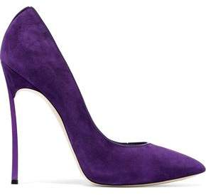 Casadei Patent Leather-Trimmed Suede Pumps