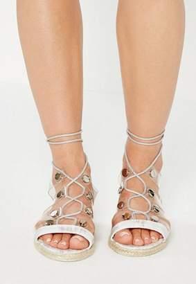 Missguided White Transparent Straps Flat Sandals