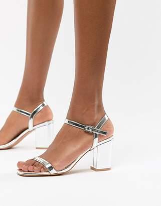 Glamorous Silver Block Heel Sandals