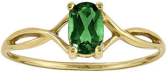 FINE JEWELRY Oval Genuine Emerald 14K Yellow Gold Birthstone Ring