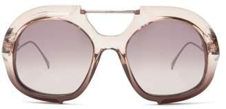 Fendi Oversized Aviator Sunglasses - Womens - Black Multi