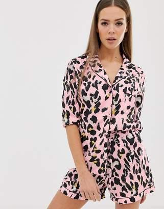 Missguided satin pyjama set in leopard