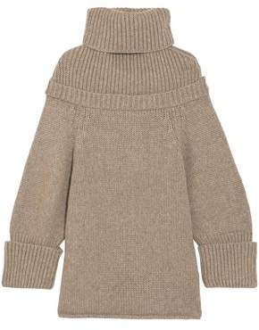 J.W.Anderson Ribbed Knit-Paneled Wool-Blend Turtleneck Sweater