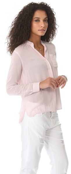 James Perse Collarless Pocket Shirt