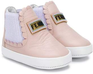 Fendi logo patch booties