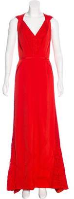 J. Mendel Lace-Trimmed Evening Dress
