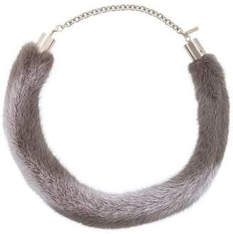 Marni Fur Pendant in Stripes,Gray