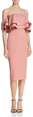 Keepsake No Reason Cold-Shoulder Ruffle Dress