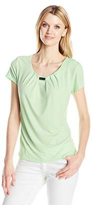 Notations Women's Solid Short Sleeve Pleated Neck Top with Trim
