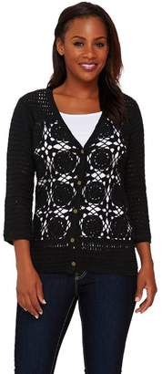 Liz Claiborne New York Hand Crochet V-Neck Cardigan