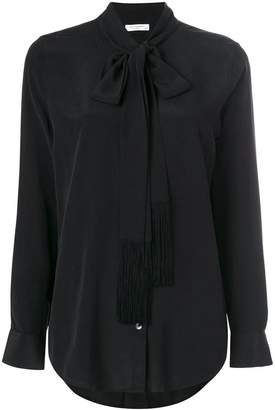 Equipment tie neck blouse with fringe detail