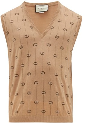 Gucci Gg Intarsia Wool Blend Sleeveless Sweater - Mens - Camel
