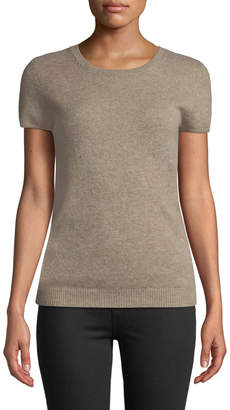 Neiman Marcus Basic Cashmere Short-Sleeve Sweater