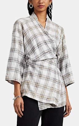 NSF Women's Yumi Plaid Cotton Flannel Wrap Kimono Jacket