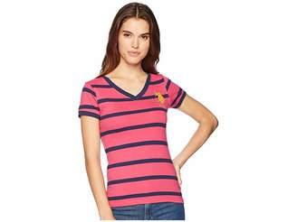 U.S. Polo Assn. Short Sleeve Striped V-Neck T-Shirt Women's T Shirt
