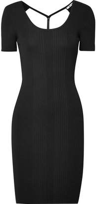 Alexander Wang Cutout Ribbed Wool Mini Dress - Black