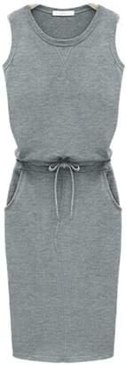 Zojuyozio Women Summer Casual Round Neck Sleeveless Solid Loose Sundress Grey M